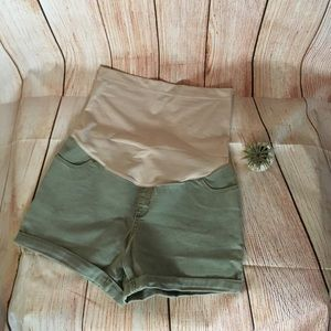 Liz Lange Army Green Jean Maternity Shorts Small